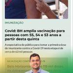Covid: BH vai vacinar pessoas de 53, 54 e 55 anos